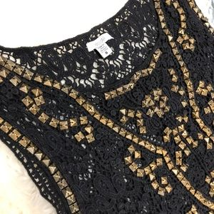 Anthropologie Tops - Ecote Black Lace Crochet Embellished Stud Blouse